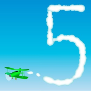 The plane draws a number in the sky. Five
