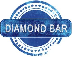 diamond bar grunge blue stamp. Isolated on white.