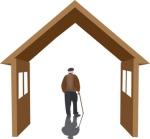 simbolo abitazione con persona matura anziano